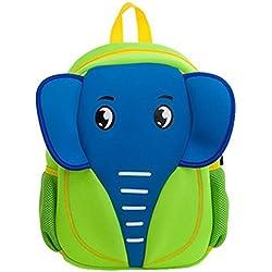 Georgie Porgy 3D Mochila Infantile Animal Bolsas Escolares de niños niñas (Elefante-verde)