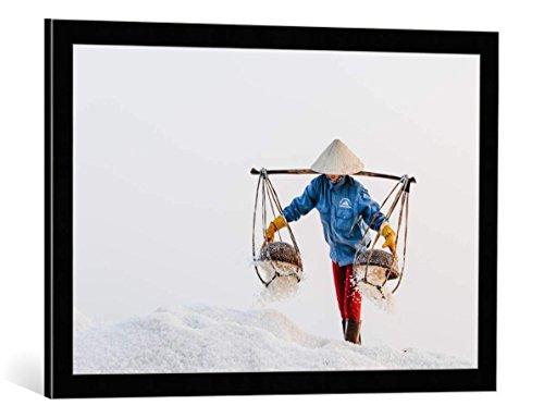 kunst für alle Bild mit Bilder-Rahmen: Philip Salt Shaker - dekorativer Kunstdruck, hochwertig gerahmt, 75x50 cm, Schwarz/Kante grau -