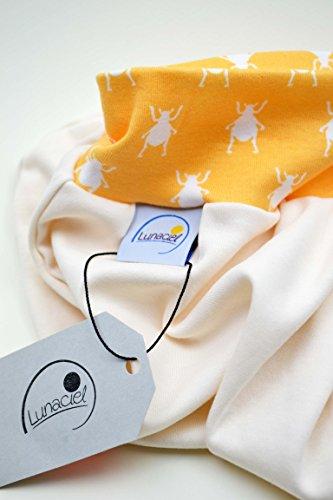 Strampelsack aus Bio-Baumwolle, 62 68 3-6 M, Schlafsack, pucken, Baby, Kind, Wiege, Bett, Kinderwagen, beige creme, orange gelb Käfer, Mädchen, Jungen