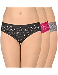 Amante Printed Low Rise Cotton Bikini Panty Pack (Pack of 3)