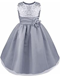 9d55d37feae iEFiEL Girls Sleeveless Sequins Formal Party Dress Prom Pageant Wedding  Bridesmaid Flower Girl Dress