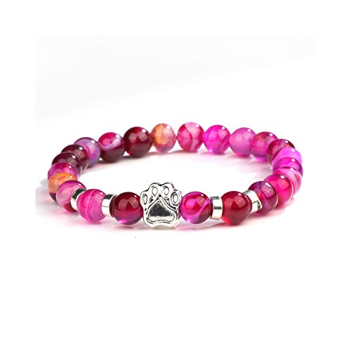 Awertaweyt Armband aus Glasperlen, Natural Stone Mala Bead Yoga Bracelet Pitbull Dog Hand Paw 8Mm Elastic Rope Bead Bracelet Fashion Men Women Jewelry ND5968 Size S 16-17cm -