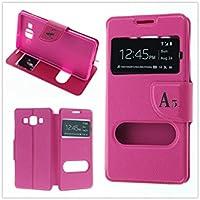 MISEMIYA - Coque Étui pour Samsung Galaxy A5 2016 (A510F) - Étui + Protecteur Verre Trempé, COVER-CRUZADA avec support,Pink