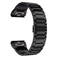 LDFAS Titanium Band Compatible Fenix 5 Plus Band, 22mm Titanium Metal Quick Release Easy Fit Watch Strap Compatible for Garmin Fenix 5/5 Plus/Forerunner 935/945 Smartwatch, Black