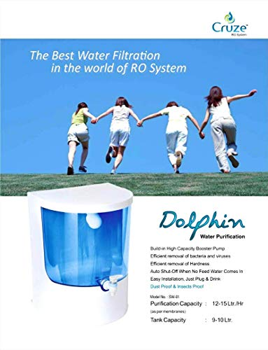 CRUZE Dolphin Plastic Mineral Ro+UV+Tds Water Purifier Filter (Blue)
