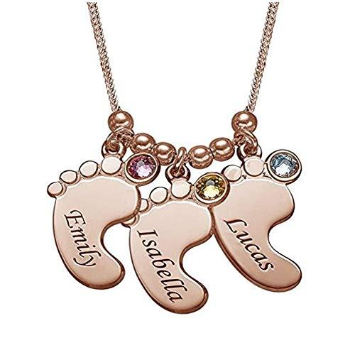 Yanday Personalisierte Namen Baby Füße und Halskette Mode Damen Geburtstagsgeschenk(Rose-vergoldeter Sockel 22)