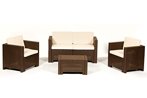 ALLIBERT Sitzgruppe CANNES Loungegarnitur Poly Rattan braun