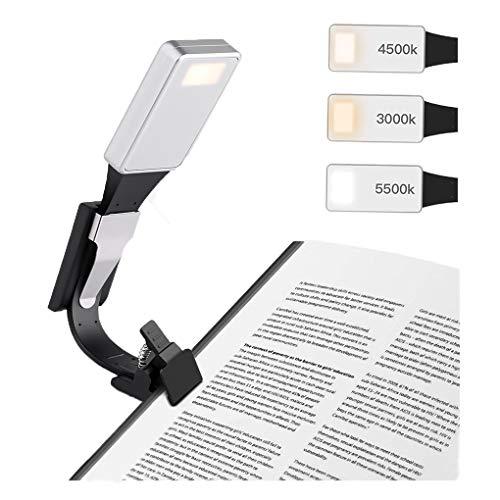 LED Leselampe, LANDEE Leseleuchte Buch Licht USB Wiederaufladbar Leselicht Nachtlicht Augenpflege, 3 Helligkeitsmodi Clip Lampe On Book, 360° Flexibel, tragbare im Bett Beleuchtung (Silber)