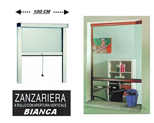 Zanzariera a rullo in alluminio per finestre con profilo riducibile/regolabile avvolgimento verticale con frizione 100x170cm bianca