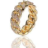 Gioielli Moca ghiacciati Anello con Catena a Maglie cubane di Moda Personalizzata Anello Placcato in Oro 18k con Diamante sim