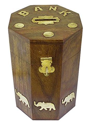 Wooden Money Bank Elephant Brass Inlay- Barrel Coin Handmade Money Box- Piggy Bank Retro - 15.24 x 10.67