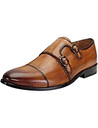 BRUNE Tan Color Genuine Leather Double Monk Strap Shoes For Men