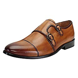 BRUNE Tan Color Genuine Leather Double Monk Strap Shoes For Men Size-7