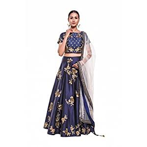 Pushp Paridhan Party Wear Traditional Ethnic Wear Machine With Handwork Navy Blue Lehenga Choli Set For Women