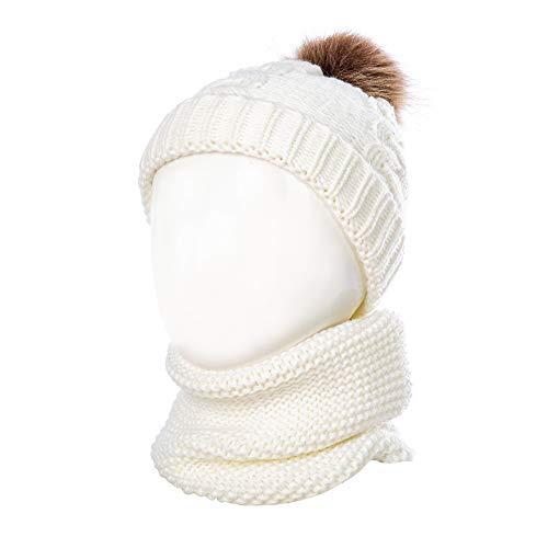 TAGVO Bonnet Chapeau Enfant d'hiver Cercle Echarpe...