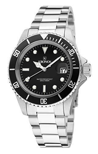 KRONOS- Sport Q 200MTS Black 977.8.55 - Reloj Diver de Caballero de Cuarzo, Brazalete de Acero, Color...