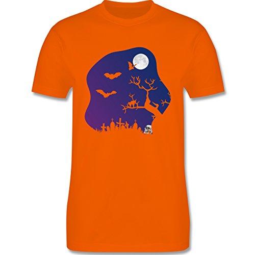 Halloween - Friedhof gruselig Totenkopf Mond - Herren Premium T-Shirt Orange