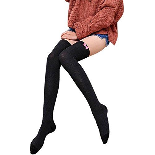 Fami ragazza delle donne Inverno sopra il ginocchio Gamba Più caldo Confortevole morbido Carina calzini di cotone (nero)