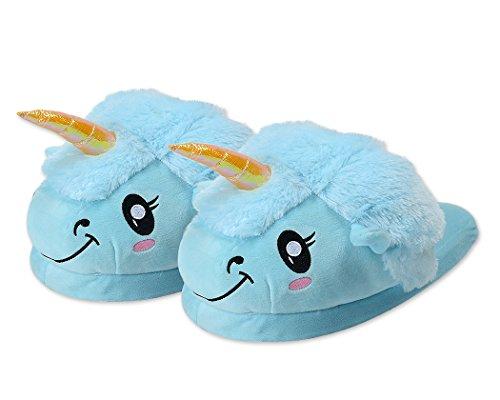 DSstyles-Lindo-Unicornio-Zapatillas-de-Felpa-Unicornio-Zapatos-Zapatillas-de-Casa-de-Novedad-Azul