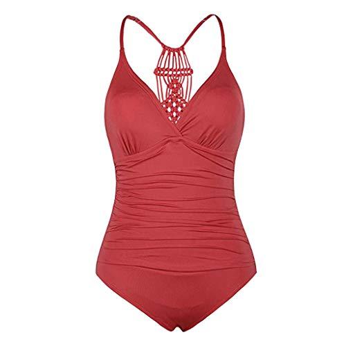 Beonzale 2019 Damen Bademode Halfter Einteiler Badeanzüge Braid Figurformenden Effekten Macrame Ruched Tummy Control Bademode Curves Swimsuit