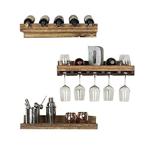 Dakoda Love Rustikal Luxe Schwimmende Wein Regal und Glas Rack Set, Kiefernholz, Set 3(Nussbaum dunkel)