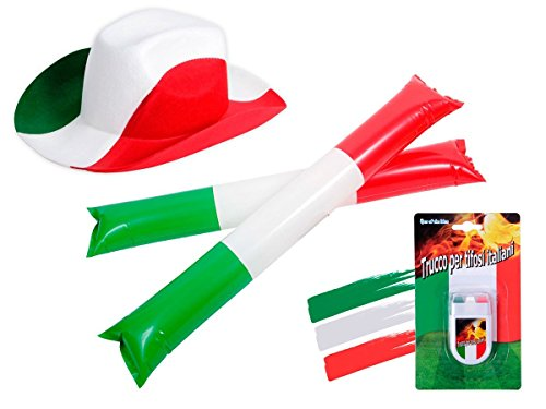 OFFERTA: Kit tifosi Italia (FP-35) Set da 4 pezzi: 2 x bastoni gonfiabili, 1 x Make up Stick, 1 x cappello cowboy azzurri squadra azzurra verde bianco rosso calcio eventi festa europei mondiali
