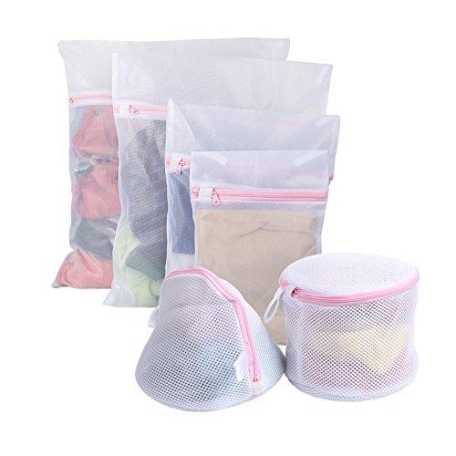 Vivifying 6 Stück Wäschebeutel, Wiederverwendbare Netztaschen mit Reißverschluss für Wäsche wie BHs, Unterwäsche, Feinwäsche, Socken und Baby-Wäsche (Weiß) (Feinwäsche Bhs)