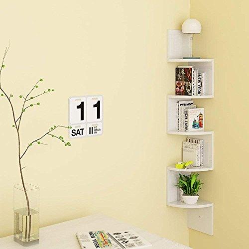 Homfa mensola da muro ad angolo 5 ripiani scaffale libri cd salvaspazio mobile a parete legno per camera soggiorno studio bianco 20 × 20 × 123cm carico 15kg