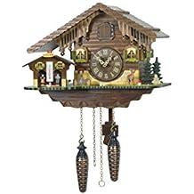 """ISDD Cuckoo Clock tu 415Q–Orologio a cucù, movimento al quarzo, motivo""""Casa svizzera con casetta Meteo"""", colore: noce"""