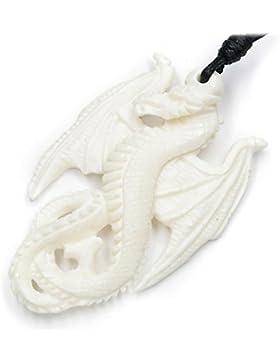 Drache Schmuck Anhänger, Kettenanhänger,Knochenschmuck, inkl. schwarzem Textilband, 5cm lang, Drachenkette aus...