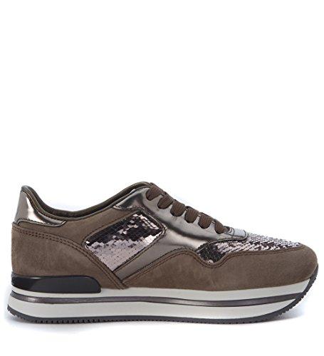 Sneaker Hogan 222 Nuovo Sportivo con paillettes grigio fango Beige