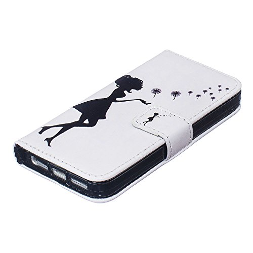 iPhone 5s Hülle Leder, E-Lush Premium PU Leder Tasche für Apple iPhone 5 5S SE Klapphülle 360 Full Body Protection Flip Case Wallet Cover Weiche Flexible TPU Soft Rückseite Abdeckung Ledertasche Bumpe Löwenzahn