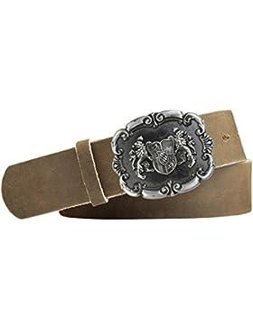 Wappen Trachten-Leder-Gürtel mit Druckknopfriemen Vollrindleder Schliesse silber antik/schwarz Farbe hellbraun