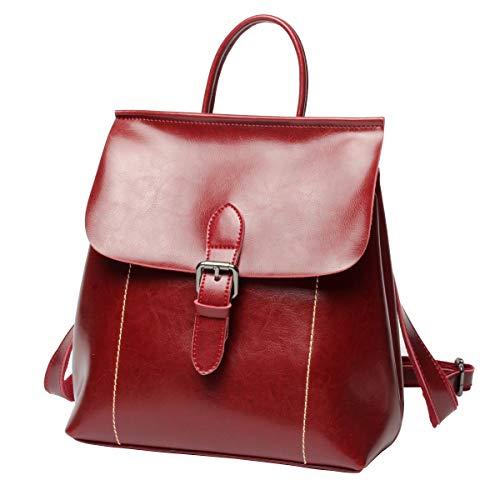 Luufan Vintage Öl Wachs Leder Rucksack Schultasche Casual Reise Daypack für Frauen Mädchen (Red)