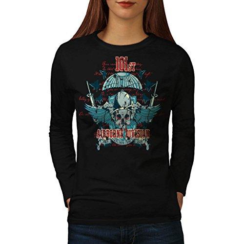 Airborne Aufteilung Schädel Krieg Flug Damen S Langarm-T-Shirt | Wellcoda (T-shirt Dunklen Airborne)
