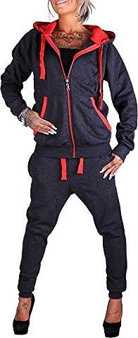 Damen Jogging-Anzug | Uni 704 (L-fällt groß aus, Anthrazit-Rot)