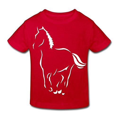 Continental Mädchen T-shirt (Spreadshirt Pferd Silhouette Kinder Bio-T-Shirt, 122/128 (7-8 Jahre), Rot)
