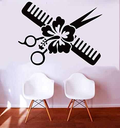 57X39 cm Einfache Friseur Schere Blume Kamm Friseure Schönheitssalon shop Haarschnitt salon Wandkunst Vinyl Aufkleber Fenster Aufkleber