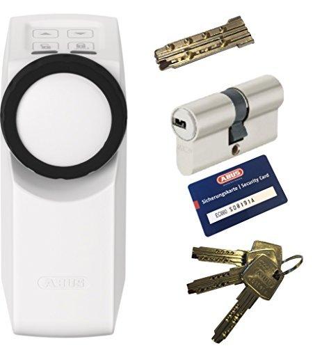 ABUS HomeTec Pro CFA3000 W + EC660 Doppelzylinder 45/45mm mit Not-u. Gefahrenfunktion, 3 Schlüssel + 1 Antriebsschlüssel