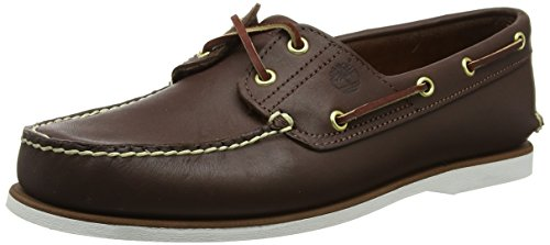 Timberland Herren 2-Eye Boat Shoe (Wide fit) Bootsschuhe, Braun (Dark Brown Smooth), 44 EU