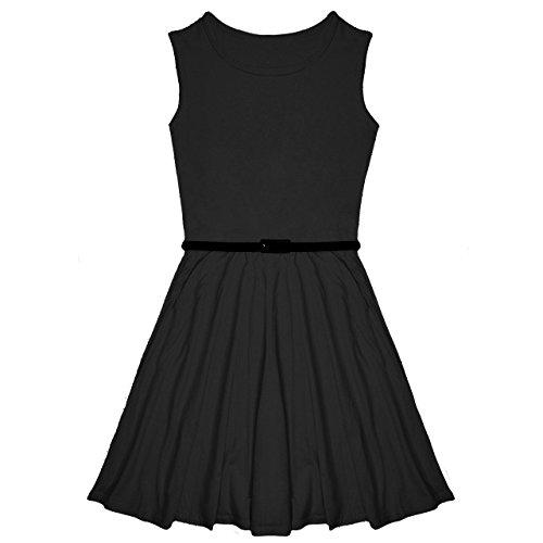 Lässiges Kleid für Eiskunstlauf/Feiern, für Mädchen, mit Gürtel, geeignet für 7- bis 13-Jährige Gr. 11-12 Jahre, ()