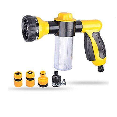 Pulverizador de espuma para automóviles Cañón Lavadora de alta presión Pistola de agua, Boquilla de manguera de jardín - Boquilla de rociado manual, 8 Patrones de riego ajustables