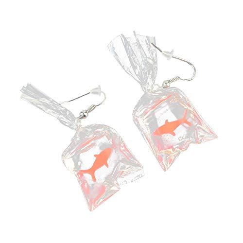 YULAND Ohrstecker Ohrringe Damen Ohrhänger für Frauen Ohrschmuck - Lustige Karikaturen Goldfisch Wasser Taschen Form Baumeln Ohrring Charme Harz Ohrringe -