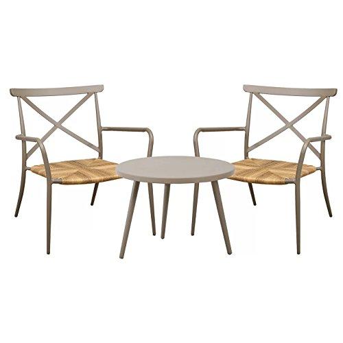 Ensemble de meubles de jardin Oseasons Patio Table et deux chaises en rotin Aluminium Taupe