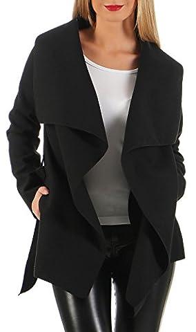 Damen kurz Mantel Trenchcoat mit Taschen ( 541 ), Schwarz,