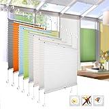 BelleMax Plissee klemmfix Rollos für Fenster ohne Bohren verdunklung Easyfix klemmträger verspannt 40x130 cm(BxH) Anthrazit