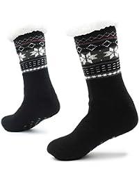 Calcetines Hechos Punto de la Zapatilla para los Hombres con los Deslizadores de la Cama de la Capa de Las Lanas para el…