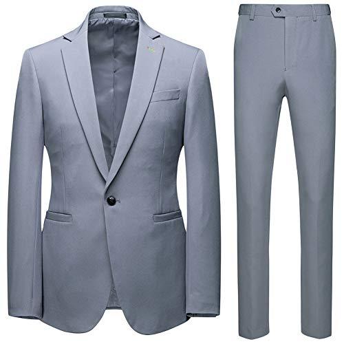 GUOCU Herren Anzug 2 Teilig Hochzeitsanzug 1 Knopf Regular Fit Business Hochzeit Anzüge Rauchfarben L