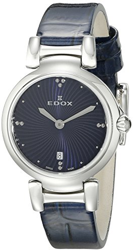 Edox Women's 57002 3C BUIN LaPassion Analog Display Swiss Quartz Blue Watch