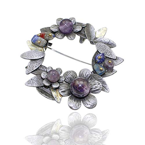 MYHMG Brosche Vintage Style Trendy Nature Stone Tin Alloy Black Tone Handmade Beaded Wreath Brooch Pin for Women Men Jewelry,